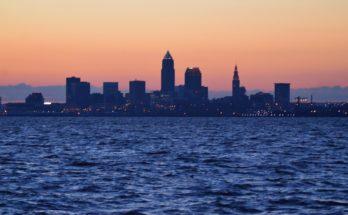 Cleveland, Ohio Skyline at Sunrise at Lakewood Park by Erik Drost